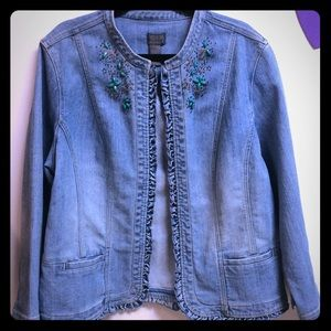 CHICO'S ADDITIONS DISTRESSED JEAN JACKET SIZE L